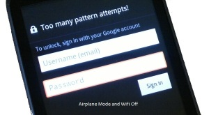 Android device lock with too many pattern attempts